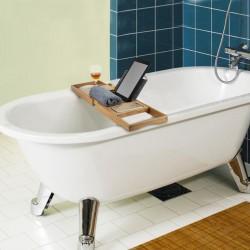 Badewannenablage Badewannentablett mit Buchstütze und Glashalter braun