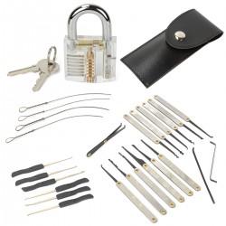 Lockpicking Set Transparentes Übungsschloss Vorhängeschloss 15tlg