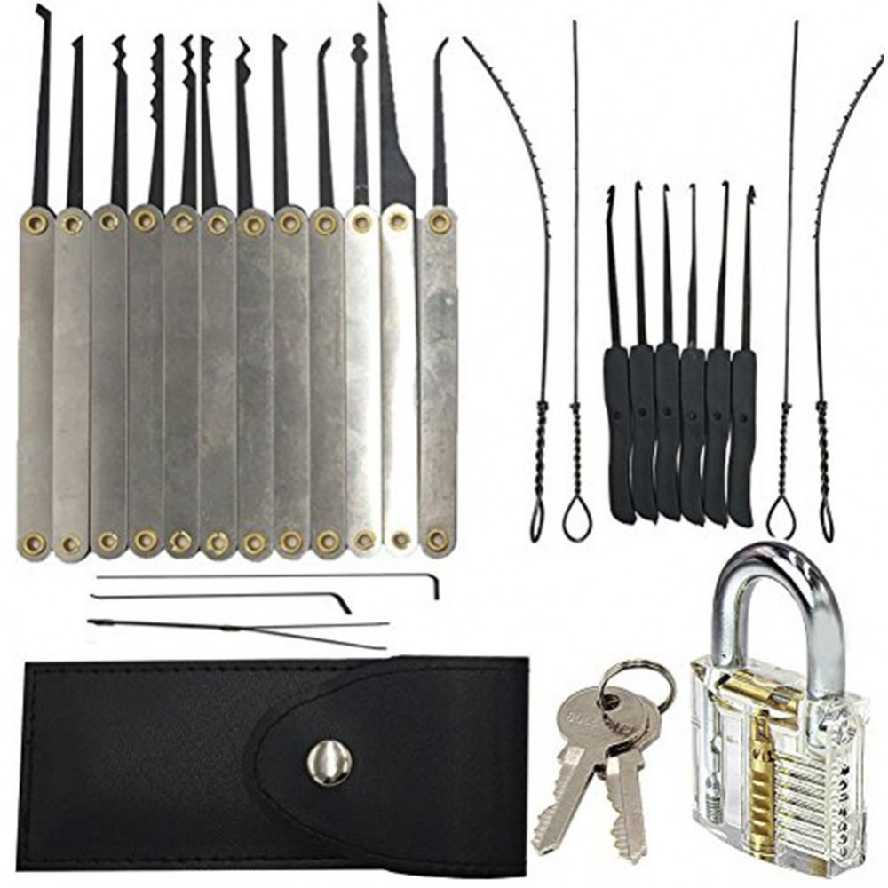 15 tlg lockpicking set transparentes bungsschloss. Black Bedroom Furniture Sets. Home Design Ideas