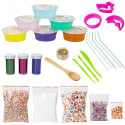 DIY Slime Schleim Kit Fluffy Clay 6Farben Schlamm mit Schaum Bälle