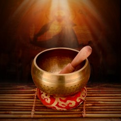 Traditionelle Klangschale 4er f. Entspannung und Meditation mit Tasche
